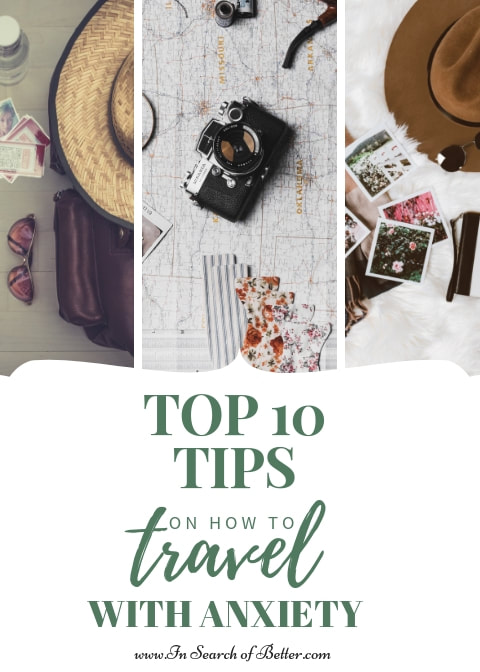 Top 10 tips on how to travel with anxiety - camera, polaroids, and hat on table