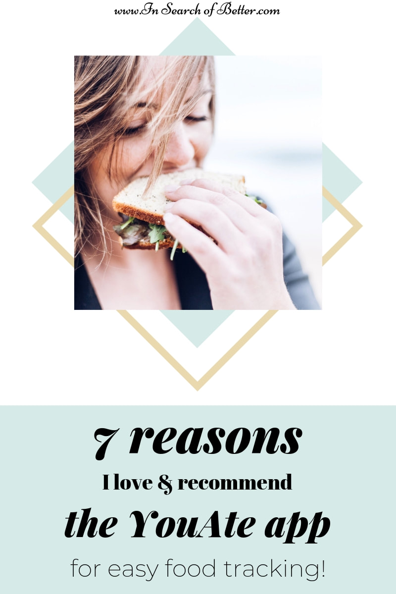 Girl eating a spinach sandwich with text overlay - 7 reasons I love & recommend the YouAte app for easy food tracking!