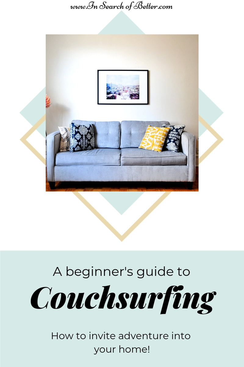Pigeon-blue couch with pillows and a print above it with text overlay - A beginner's guide to Couchsurfing