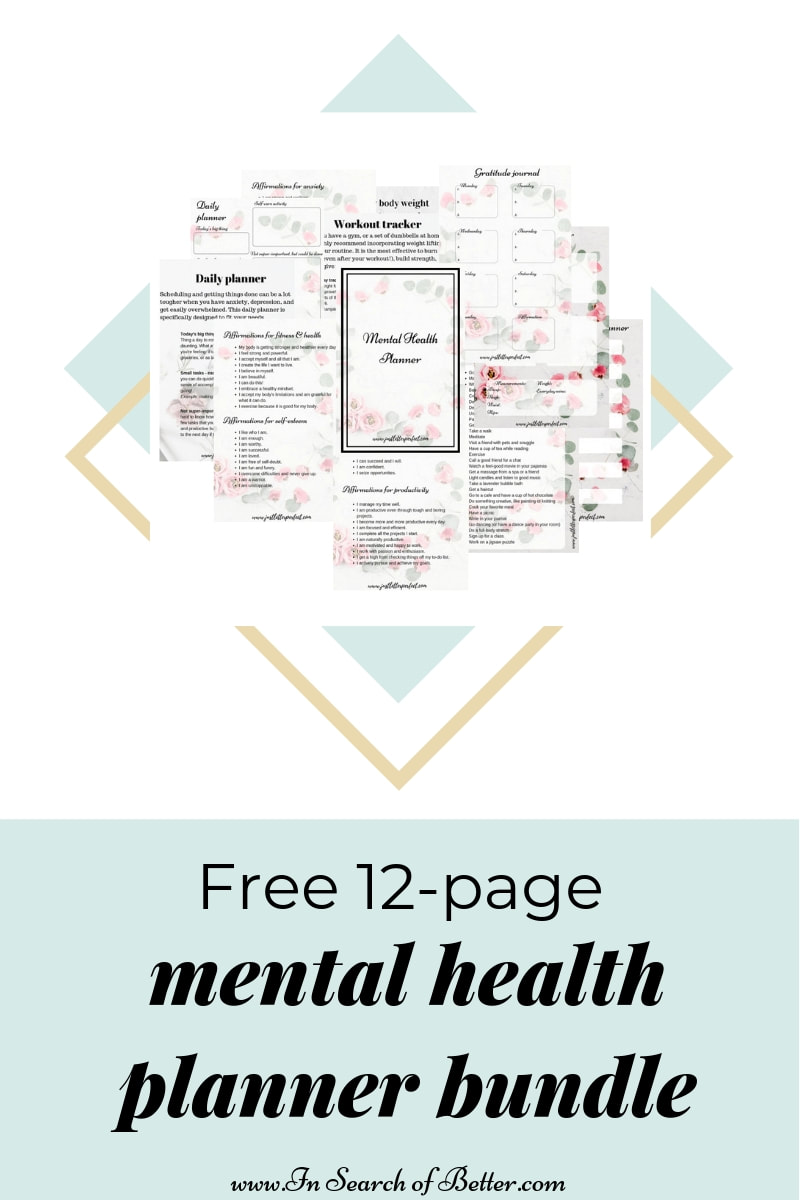 lavender field with text overlay - free mental health planner kit