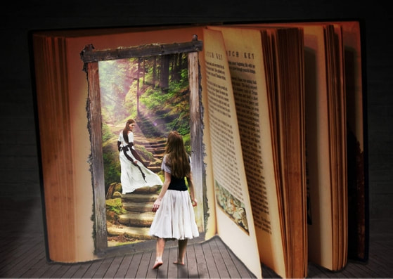 Girl in white skirt walking into a fairytale world in a book