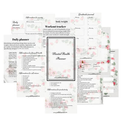 Miniatures of free mental health planner bundle