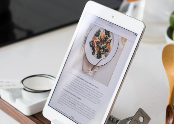 Recipe on tablet on counter